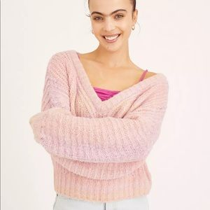NWT UO Pink Space-Dye Oversized V-Neck Sweater